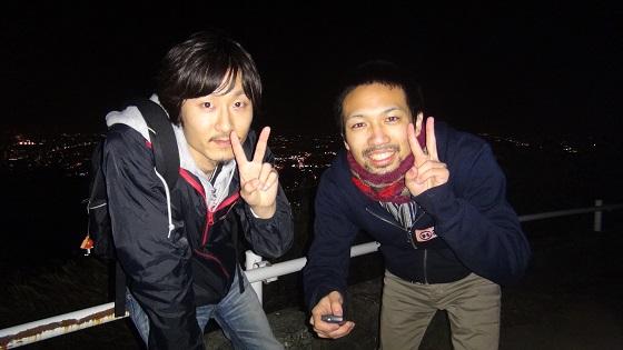 高草山 笛吹段公園の夜景×記念写真