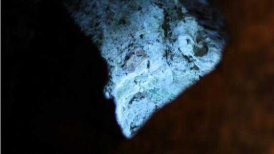 洞窟内の岩をライトアップ