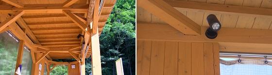 屋根とLEDライト