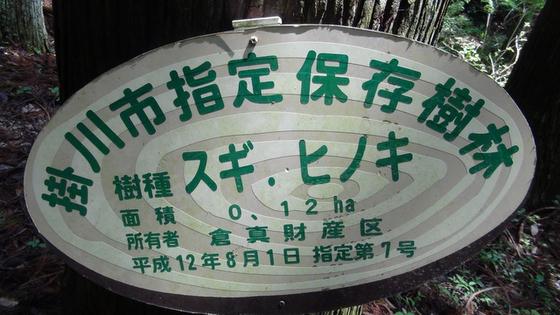 掛川市指定保存樹林看板