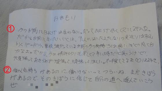 励ましの手紙1